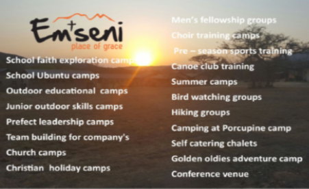 Em'seni Adventure camp - Ideal adventure camp for large groups easily caters for 150 in new brick cabins with excellent ablutions. Large conference hall/chapel. Kitchens and staff provide awesome food. Team building, facilitation, kayaking, hiking, wilderness, large grass field.